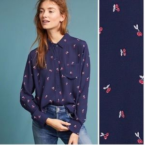 Rails | The Kate Top in Navy Cherries M Anthro